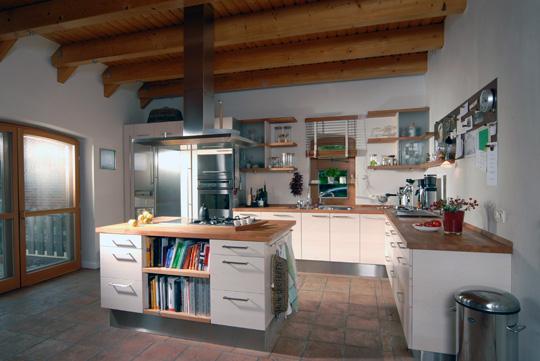 Küche 48 Birnbaum, Ahorn Weiss Lasiert